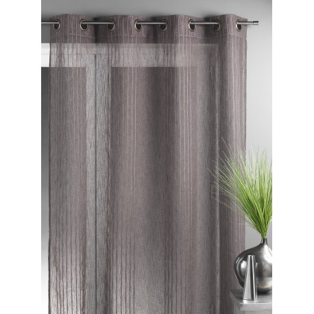VOILAGE GRANDE LARGEUR CHOCOLAT RAYURES TAUPE 200 X 260