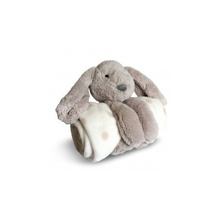 SET ENFANT PELUCHE LAPINOU + PLAID