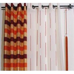 VOILAGE BLANC AVEC FINE RAYURES 260 x 140 - 2 coloris