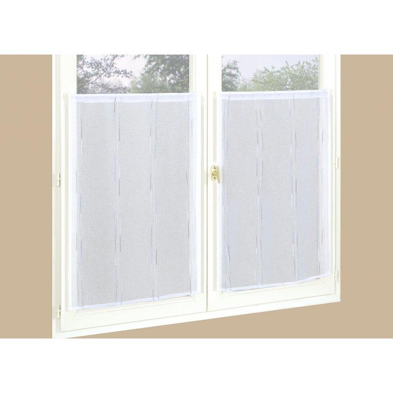 paire de vitrage vandy 60 x 120 blanc. Black Bedroom Furniture Sets. Home Design Ideas