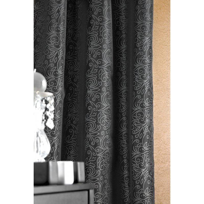 rideau noir avec motif argent 140 x 260. Black Bedroom Furniture Sets. Home Design Ideas
